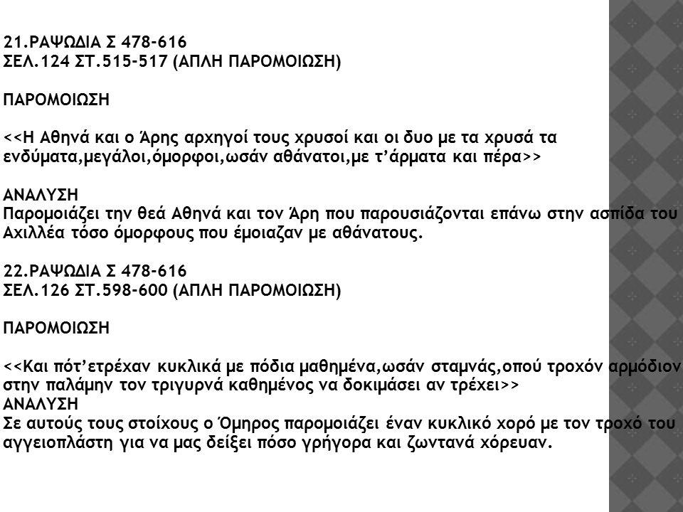 21.ΡΑΨΩΔΙΑ Σ 478-616 ΣΕΛ.124 ΣΤ.515-517 (ΑΠΛΗ ΠΑΡΟΜΟΙΩΣΗ) ΠΑΡΟΜΟΙΩΣΗ > ΑΝΑΛΥΣΗ Παρομοιάζει την θεά Αθηνά και τον Άρη που παρουσιάζονται επάνω στην ασπ