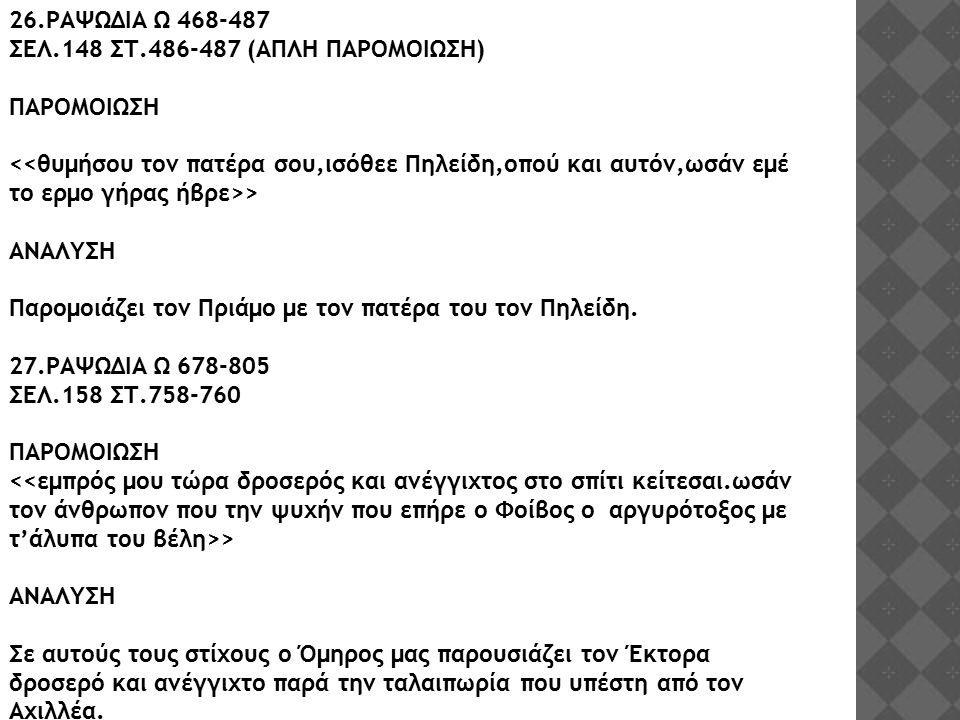 26.ΡΑΨΩΔΙΑ Ω 468-487 ΣΕΛ.148 ΣΤ.486-487 (ΑΠΛΗ ΠΑΡΟΜΟΙΩΣΗ) ΠΑΡΟΜΟΙΩΣΗ > ΑΝΑΛΥΣΗ Παρομοιάζει τον Πριάμο με τον πατέρα του τον Πηλείδη. 27.ΡΑΨΩΔΙΑ Ω 678-