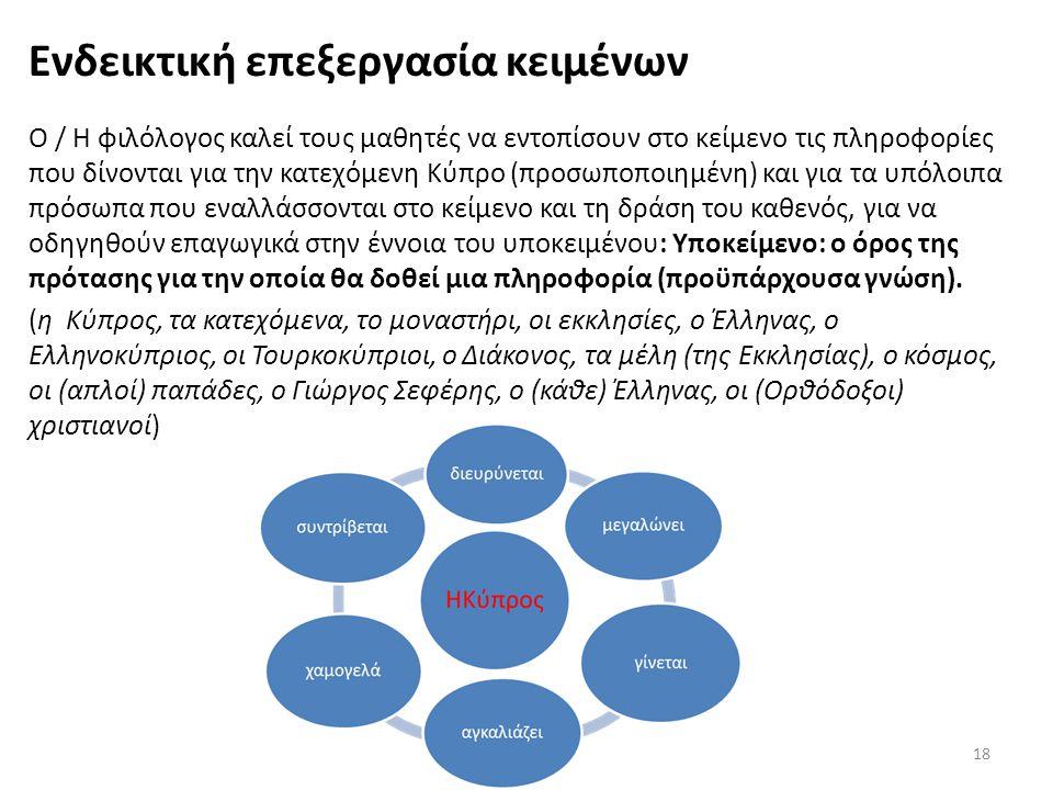 Ενδεικτική επεξεργασία κειμένων Ο / Η φιλόλογος καλεί τους μαθητές να εντοπίσουν στο κείμενο τις πληροφορίες που δίνονται για την κατεχόμενη Κύπρο (πρ