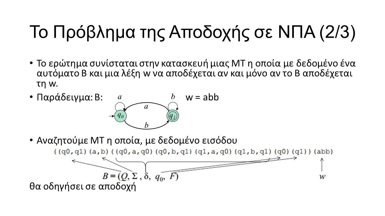 Το Πρόβλημα της Αποδοχής σε ΝΠΑ (2/3) Το ερώτημα συνίσταται στην κατασκευή μιας ΜT η οποία με δεδομένο ένα αυτόματο Β και μια λέξη w να αποδέχεται αν