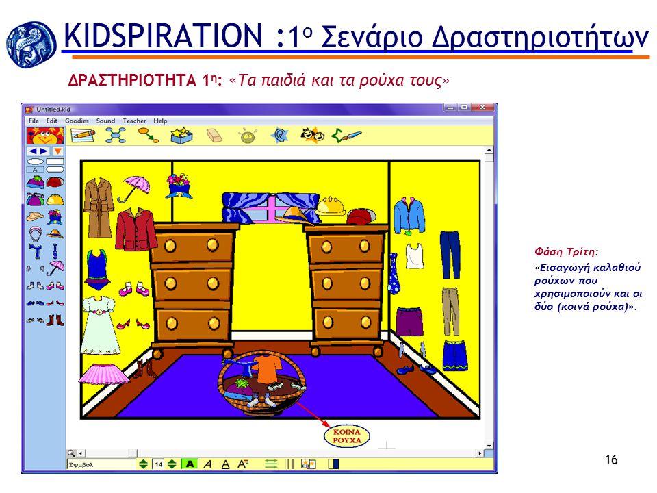Φάση Τρίτη: «Εισαγωγή καλαθιού ρούχων που χρησιμοποιούν και οι δύο (κοινά ρούχα)». 16 ΔΡΑΣΤΗΡΙΟΤΗΤΑ 1 η : «Τα παιδιά και τα ρούχα τους» KIDSPIRATION :
