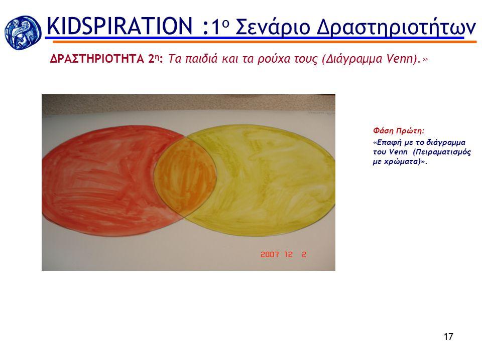 Φάση Πρώτη: «Επαφή με το διάγραμμα του Venn (Πειραματισμός με χρώματα)». 17 ΔΡΑΣΤΗΡΙΟΤΗΤΑ 2 η : Τα παιδιά και τα ρούχα τους (Διάγραμμα Venn).» KIDSPIR