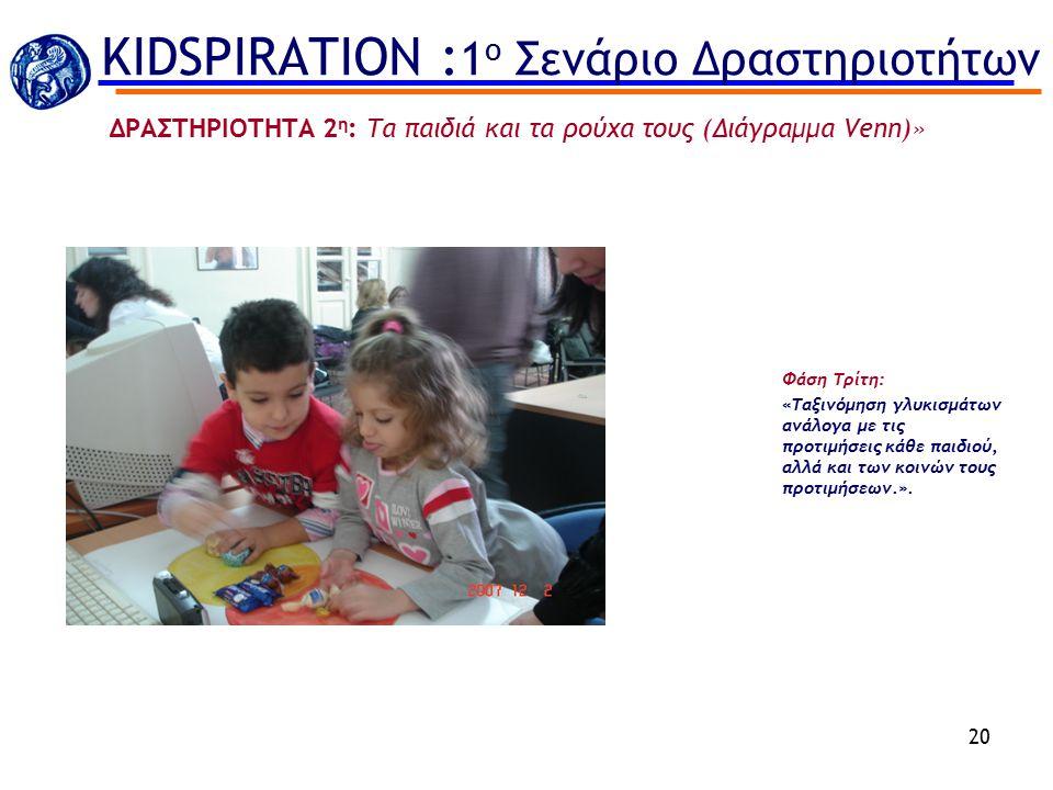 20 ΔΡΑΣΤΗΡΙΟΤΗΤΑ 2 η : Τα παιδιά και τα ρούχα τους (Διάγραμμα Venn)» Φάση Τρίτη: «Ταξινόμηση γλυκισμάτων ανάλογα με τις προτιμήσεις κάθε παιδιού, αλλά