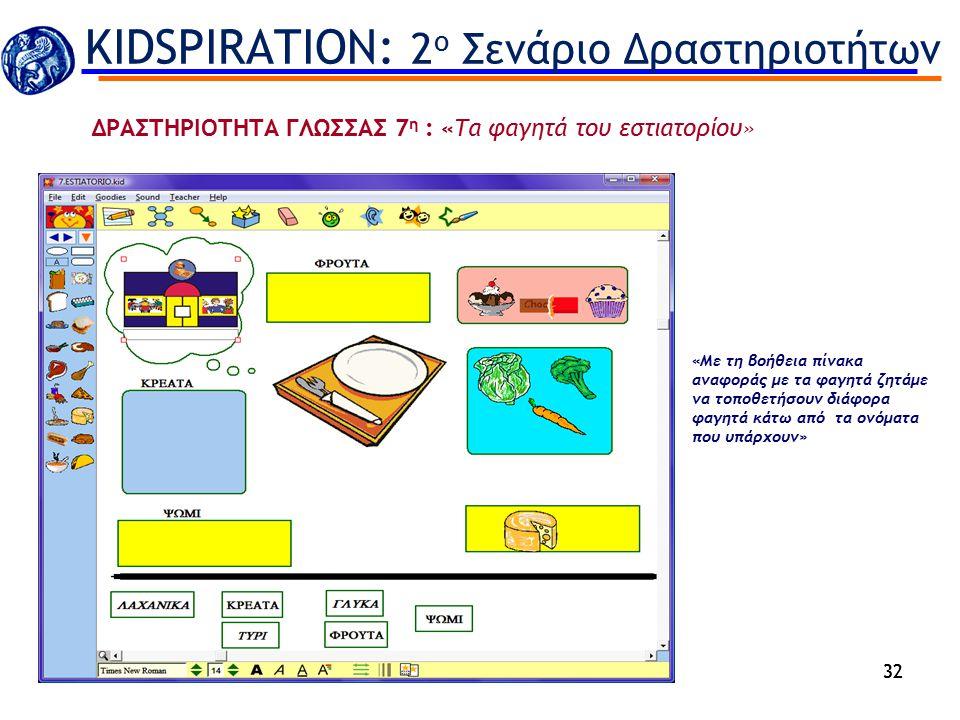 32 «Με τη βοήθεια πίνακα αναφοράς με τα φαγητά ζητάμε να τοποθετήσουν διάφορα φαγητά κάτω από τα ονόματα που υπάρχουν» KIDSPIRATION: 2 ο Σενάριο Δραστ