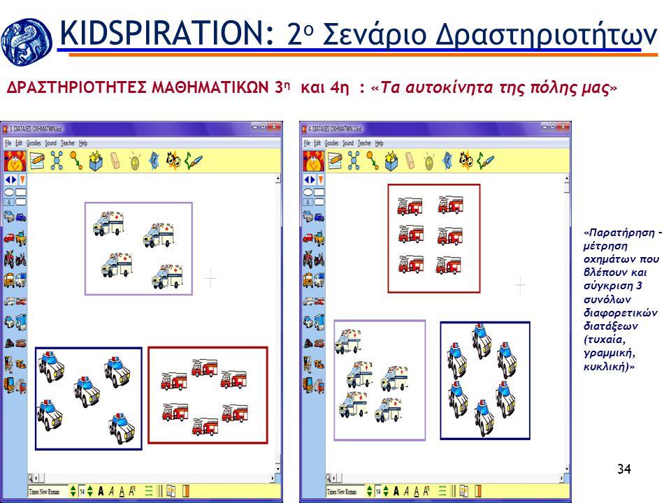 34 «Παρατήρηση – μέτρηση οχημάτων που βλέπουν και σύγκριση 3 συνόλων διαφορετικών διατάξεων (τυχαία, γραμμική, κυκλική)» KIDSPIRATION: 2 ο Σενάριο Δρα