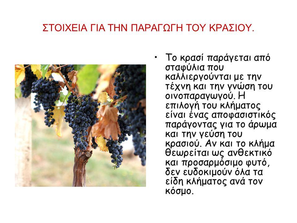 ΣΤΟΙΧΕΙΑ ΓΙΑ ΤΗΝ ΠΑΡΑΓΩΓΗ ΤΟΥ ΚΡΑΣΙΟΥ. Το κρασί παράγεται από σταφύλια που καλλιεργούνται με την τέχνη και την γνώση του οινοπαραγωγού. Η επιλογή του