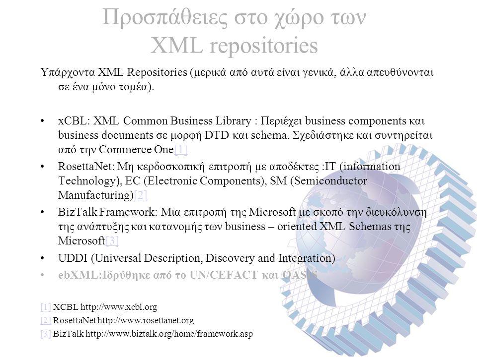 Προσπάθειες στο χώρο των XML repositories Υπάρχοντα XML Repositories (μερικά από αυτά είναι γενικά, άλλα απευθύνονται σε ένα μόνο τομέα).
