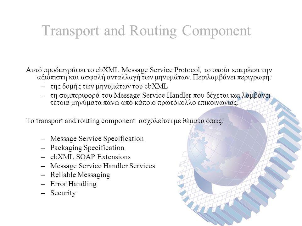 Transport and Routing Component Αυτό προδιαγράφει το ebXML Message Service Protocol, το οποίο επιτρέπει την αξιόπιστη και ασφαλή ανταλλαγή των μηνυμάτων.