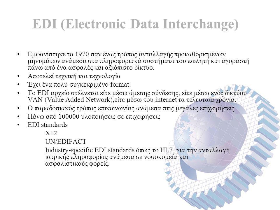 EDI (Electronic Data Interchange) Εμφανίστηκε το 1970 σαν ένας τρόπος ανταλλαγής προκαθορισμένων μηνυμάτων ανάμεσα στα πληροφοριακά συστήματα του πωλητή και αγοραστή πάνω από ένα ασφαλές και αξιόπιστο δίκτυο.