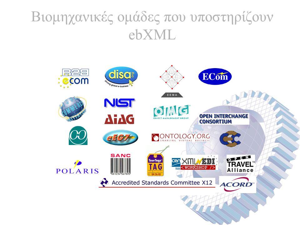 Βιομηχανικές ομάδες που υποστηρίζουν ebXML