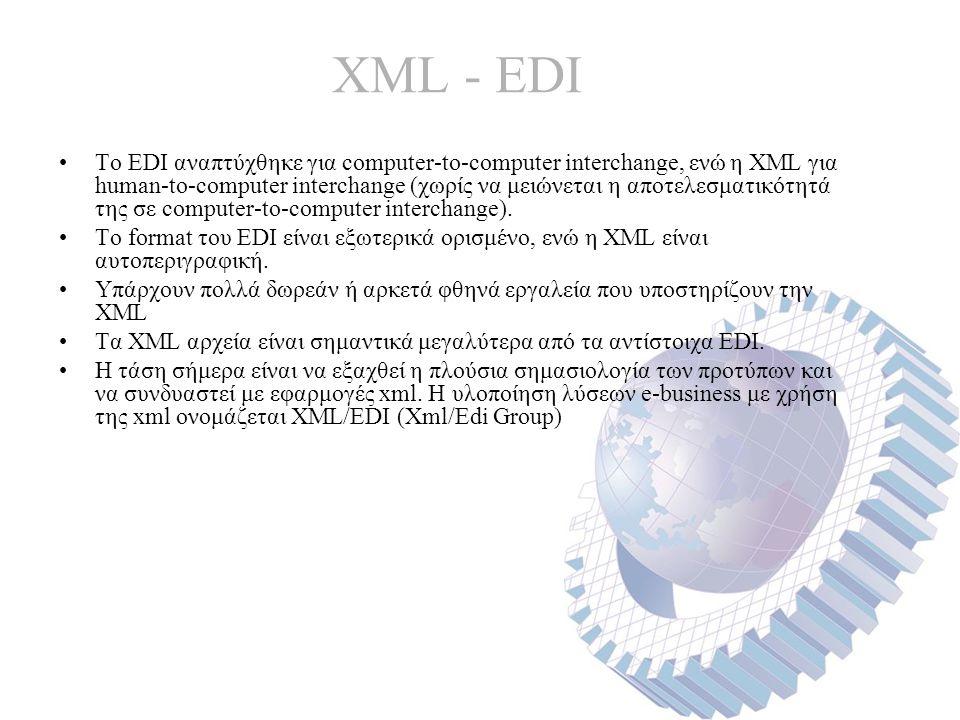 XML - EDI Το EDI αναπτύχθηκε για computer-to-computer interchange, ενώ η XML για human-to-computer interchange (χωρίς να μειώνεται η αποτελεσματικότητά της σε computer-to-computer interchange).