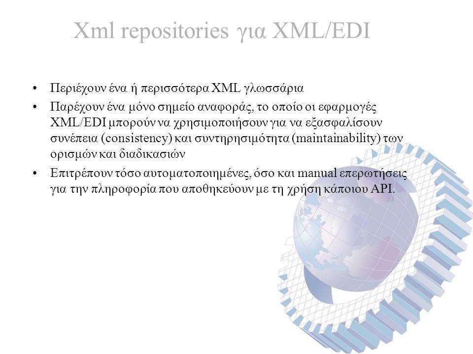 Xml repositories για XML/EDI Περιέχουν ένα ή περισσότερα XML γλωσσάρια Παρέχουν ένα μόνο σημείο αναφοράς, το οποίο οι εφαρμογές XML/EDI μπορούν να χρησιμοποιήσουν για να εξασφαλίσουν συνέπεια (consistency) και συντηρησιμότητα (maintainability) των ορισμών και διαδικασιών Επιτρέπουν τόσο αυτοματοποιημένες, όσο και manual επερωτήσεις για την πληροφορία που αποθηκεύουν με τη χρήση κάποιου API.
