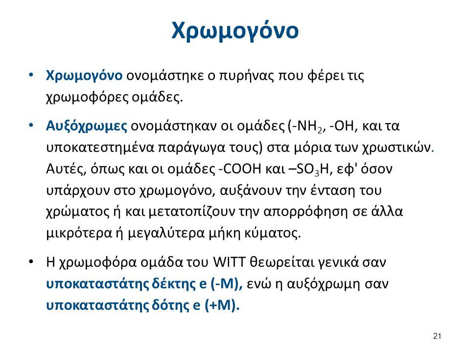 Μεσομέρεια (1 από 2) Η μετατόπιση της απορρόφησης σε μεγαλύτερα μήκη κύματος (βαθύχρωμη δράση) οφείλεται στην παρουσία ομάδων, που μπορούν να πάρουν μέρος στην μεσομέρεια κάποιου τμήματος του μορίου με συζυγιακούς διπλούς δεσμούς.