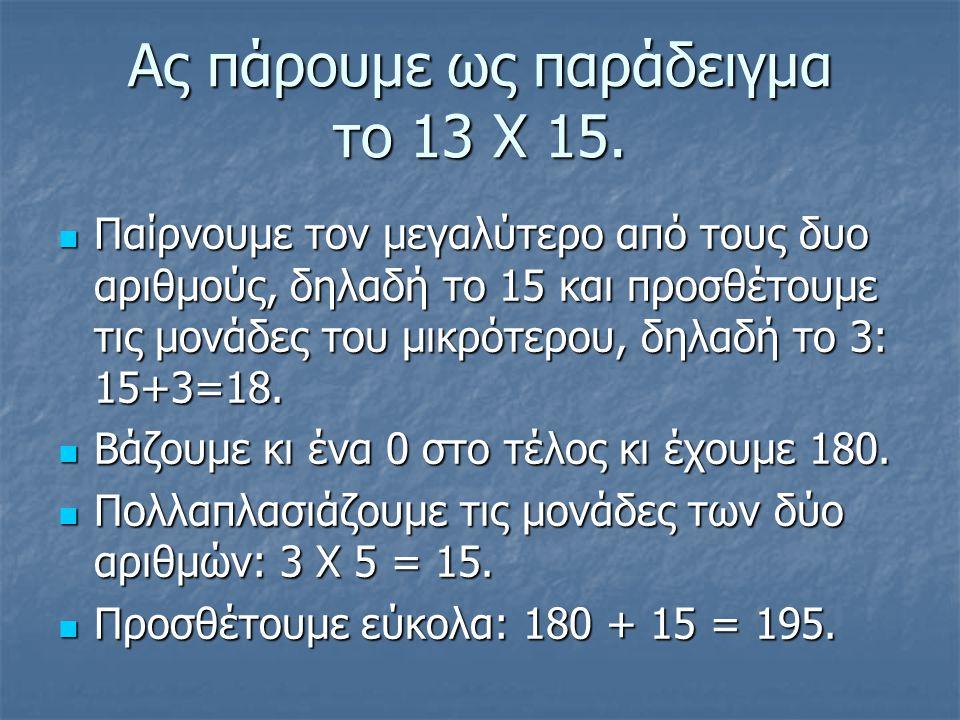 Άλλο παράδειγμα: 14 Χ 17 17 + 4 = 21 17 + 4 = 21 …και 0 στο τέλος.….210 …και 0 στο τέλος.….210 4 Χ 7 = 28 4 Χ 7 = 28 210 + 28 = 238 210 + 28 = 238