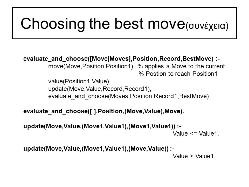 Choosing the best move (συνέχεια) evaluate_and_choose([Move|Moves],Position,Record,BestMove) :- move(Move,Position,Position1), % applies a Move to the current % Postion to reach Position1 value(Position1,Value), update(Move,Value,Record,Record1), evaluate_and_choose(Moves,Position,Record1,BestMove).