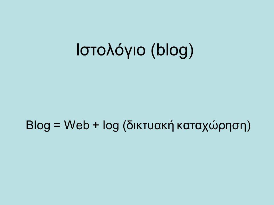 Ιστολόγιο (blog) Blog = Web + log (δικτυακή καταχώρηση)