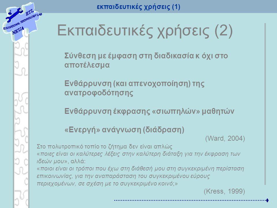 εκπαιδευτικές χρήσεις (1) Eκπαιδευτικές χρήσεις (2) Σύνθεση με έμφαση στη διαδικασία κ όχι στο αποτέλεσμα Ενθάρρυνση (και απενοχοποίηση) της ανατροφοδ