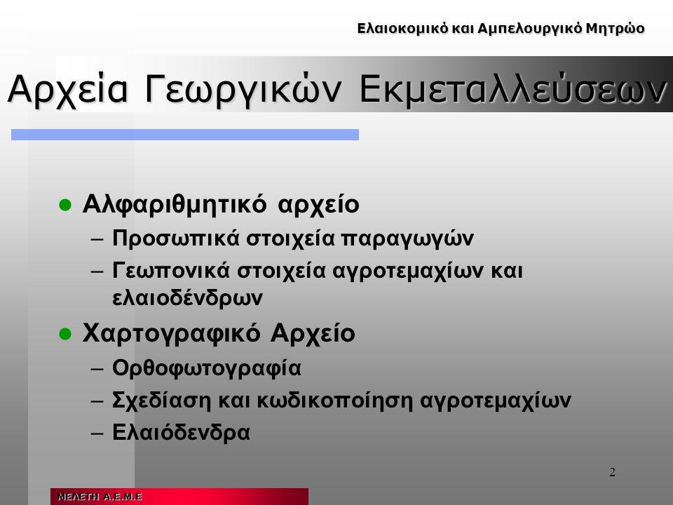 2 Αρχεία Γεωργικών Εκμεταλλεύσεων Αλφαριθμητικό αρχείο –Προσωπικά στοιχεία παραγωγών –Γεωπονικά στοιχεία αγροτεμαχίων και ελαιοδένδρων Χαρτογραφικό Αρχείο –Ορθοφωτογραφία –Σχεδίαση και κωδικοποίηση αγροτεμαχίων –Ελαιόδενδρα Ελαιοκομικό και Αμπελουργικό Μητρώο ΜΕΛΕΤΗ Α.Ε.Μ.Ε