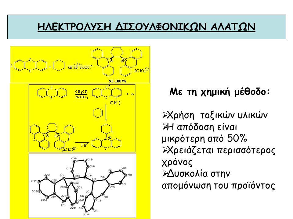 ΗΛΕΚΤΡΟΛΥΣΗ ΤΟΥ ΘΕΙΑΝΘΡΕΝΙΟΥ ΠΑΡΟΥΣΙΑ ΚΕΤΟΝΩΝ Με τη χημική μέθοδο:  Είναι απαραίτητη η προσθήκη ισχυρού οξέος (εκρηκτικό)  Η αντίδραση γίνεται με τη
