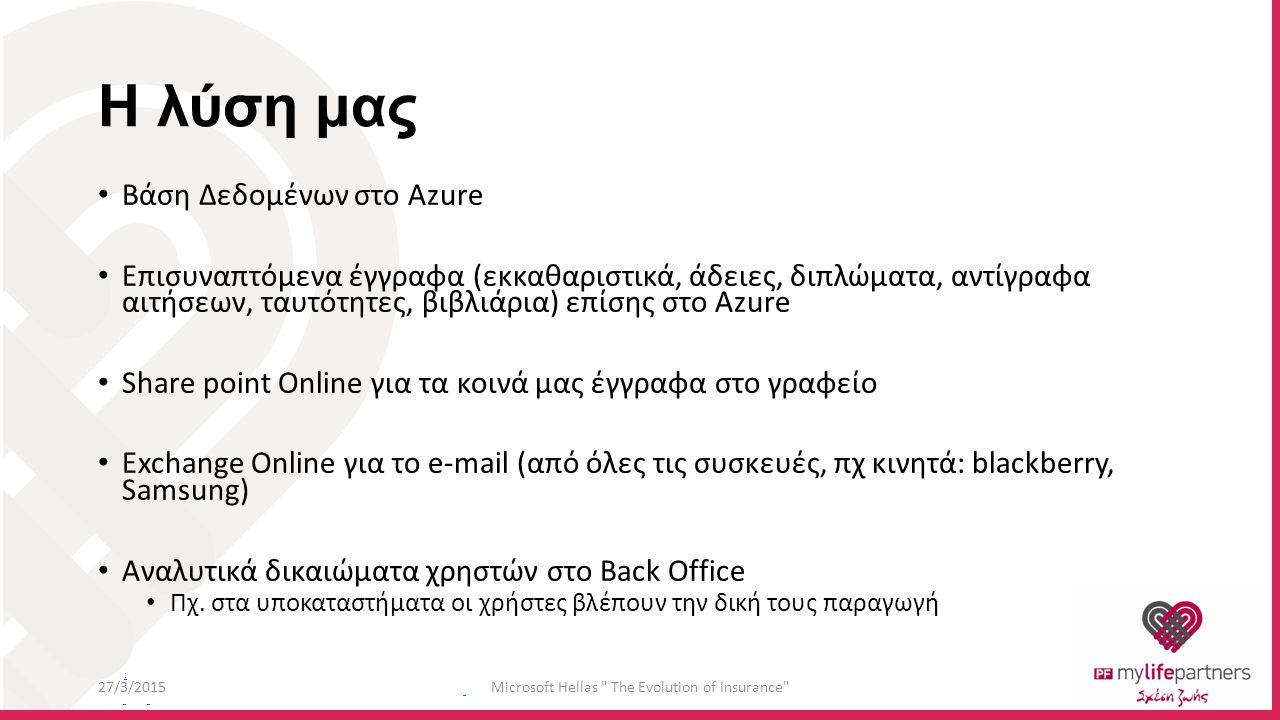 : Η λύση μας Βάση Δεδομένων στο Azure Επισυναπτόμενα έγγραφα (εκκαθαριστικά, άδειες, διπλώματα, αντίγραφα αιτήσεων, ταυτότητες, βιβλιάρια) επίσης στο Azure Share point Online για τα κοινά μας έγγραφα στο γραφείο Exchange Online για το e-mail (από όλες τις συσκευές, πχ κινητά: blackberry, Samsung) Αναλυτικά δικαιώματα χρηστών στο Back Office Πχ.