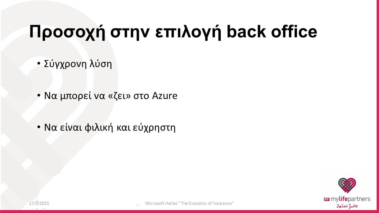 : Προσοχή στην επιλογή back office Σύγχρονη λύση Να μπορεί να «ζει» στο Azure Να είναι φιλική και εύχρηστη 27/3/2015Microsoft Hellas The Evolution of Insurance