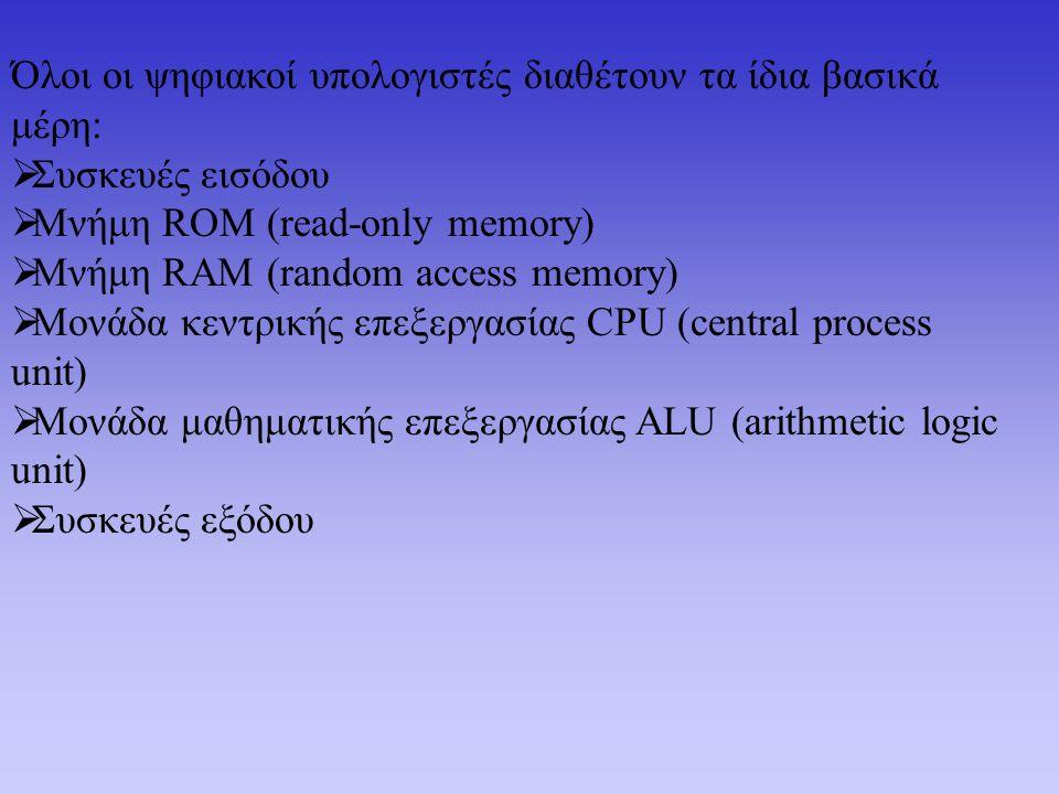 Όλοι οι ψηφιακοί υπολογιστές διαθέτουν τα ίδια βασικά μέρη:  Συσκευές εισόδου  Μνήμη ROM (read-only memory)  Μνήμη RAM (random access memory)  Μονάδα κεντρικής επεξεργασίας CPU (central process unit)  Μονάδα μαθηματικής επεξεργασίας ALU (arithmetic logic unit)  Συσκευές εξόδου