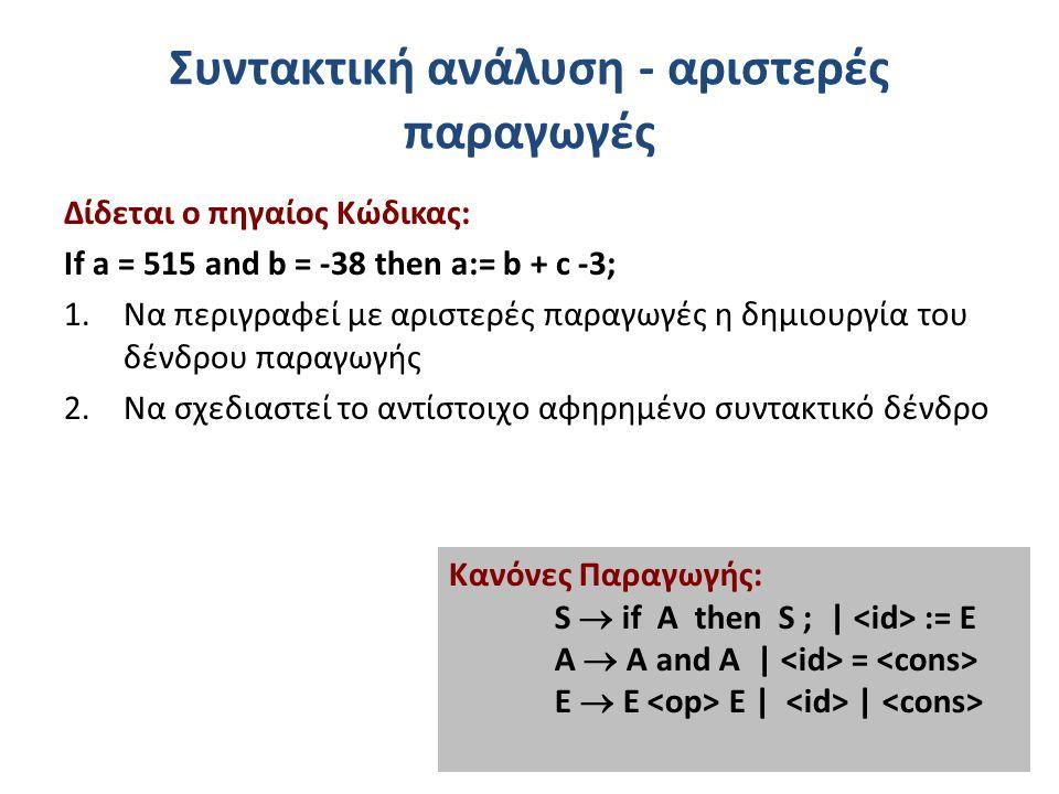 Συντακτική ανάλυση - αριστερές παραγωγές Δίδεται ο πηγαίος Κώδικας: If a = 515 and b = -38 then a:= b + c -3; 1.Να περιγραφεί με αριστερές παραγωγές η δημιουργία του δένδρου παραγωγής 2.Να σχεδιαστεί το αντίστοιχο αφηρημένο συντακτικό δένδρο Κανόνες Παραγωγής: S  if A then S ; | := E A  A and A | = E  Ε E | |