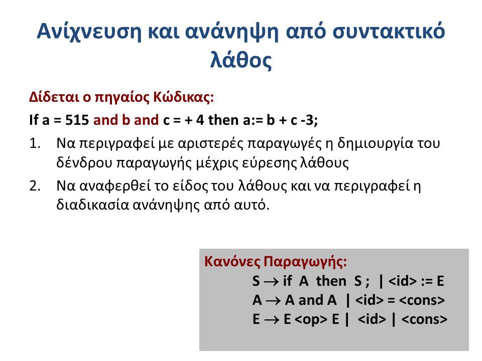 Ανίχνευση και ανάνηψη από συντακτικό λάθος Δίδεται ο πηγαίος Κώδικας: If a = 515 and b and c = + 4 then a:= b + c -3; 1.Να περιγραφεί με αριστερές παραγωγές η δημιουργία του δένδρου παραγωγής μέχρις εύρεσης λάθους 2.Να αναφερθεί το είδος του λάθους και να περιγραφεί η διαδικασία ανάνηψης από αυτό.