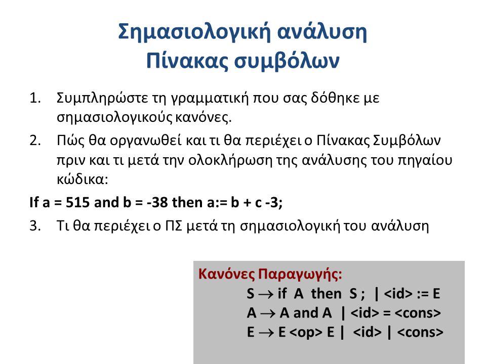 Σημασιολογική ανάλυση Πίνακας συμβόλων 1.Συμπληρώστε τη γραμματική που σας δόθηκε με σημασιολογικούς κανόνες.