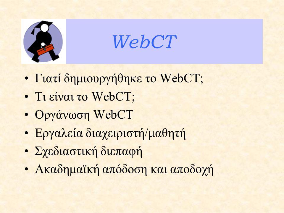 WebCT Γιατί δημιουργήθηκε το WebCT; Τι είναι το WebCT; Οργάνωση WebCT Εργαλεία διαχειριστή/μαθητή Σχεδιαστική διεπαφή Ακαδημαϊκή απόδοση και αποδοχή