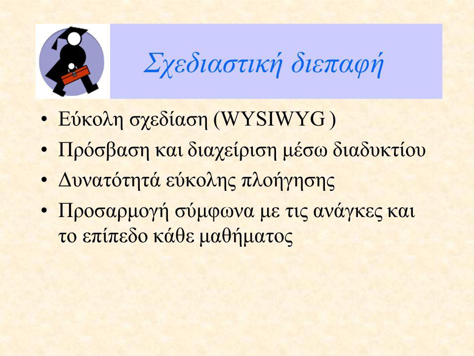 Σχεδιαστική διεπαφή Εύκολη σχεδίαση (WYSIWYG ) Πρόσβαση και διαχείριση μέσω διαδυκτίου Δυνατότητά εύκολης πλοήγησης Προσαρμογή σύμφωνα με τις ανάγκες και το επίπεδο κάθε μαθήματος