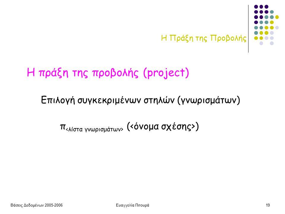 Βάσεις Δεδομένων 2005-2006Ευαγγελία Πιτουρά19 Η Πράξη της Προβολής Η πράξη της προβολής (project) π ( ) Επιλογή συγκεκριμένων στηλών (γνωρισμάτων)
