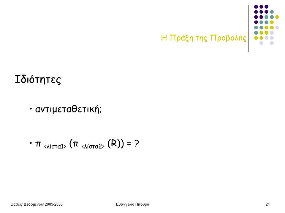 Βάσεις Δεδομένων 2005-2006Ευαγγελία Πιτουρά24 Η Πράξη της Προβολής Ιδιότητες αντιμεταθετική; π (π (R)) = ?