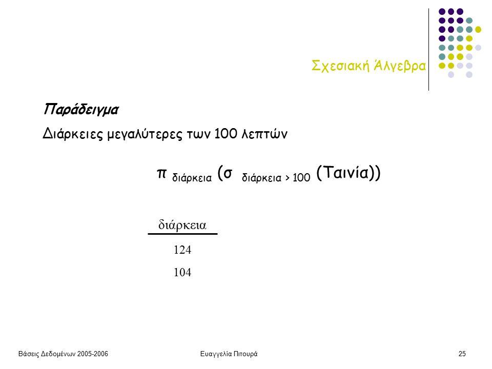 Βάσεις Δεδομένων 2005-2006Ευαγγελία Πιτουρά25 Σχεσιακή Άλγεβρα διάρκεια 124 104 Παράδειγμα Διάρκειες μεγαλύτερες των 100 λεπτών π διάρκεια (σ διάρκεια > 100 (Ταινία))