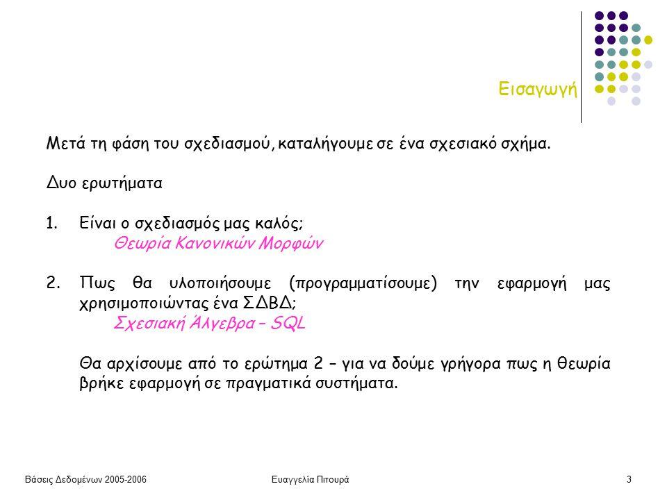 Βάσεις Δεδομένων 2005-2006Ευαγγελία Πιτουρά3 Εισαγωγή Μετά τη φάση του σχεδιασμού, καταλήγουμε σε ένα σχεσιακό σχήμα.