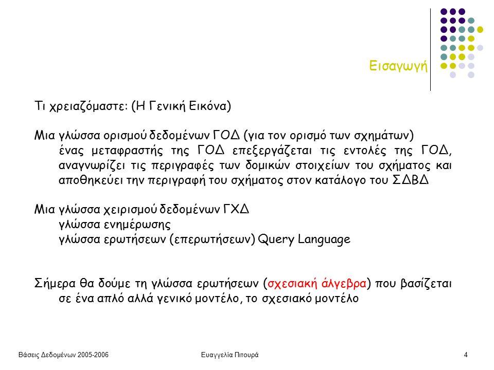 Βάσεις Δεδομένων 2005-2006Ευαγγελία Πιτουρά4 Εισαγωγή Τι χρειαζόμαστε: (Η Γενική Εικόνα) Μια γλώσσα ορισμού δεδομένων ΓΟΔ (για τον ορισμό των σχημάτων) ένας μεταφραστής της ΓΟΔ επεξεργάζεται τις εντολές της ΓΟΔ, αναγνωρίζει τις περιγραφές των δομικών στοιχείων του σχήματος και αποθηκεύει την περιγραφή του σχήματος στον κατάλογο του ΣΔΒΔ Μια γλώσσα χειρισμού δεδομένων ΓΧΔ γλώσσα ενημέρωσης γλώσσα ερωτήσεων (επερωτήσεων) Query Language Σήμερα θα δούμε τη γλώσσα ερωτήσεων (σχεσιακή άλγεβρα) που βασίζεται σε ένα απλό αλλά γενικό μοντέλο, το σχεσιακό μοντέλο