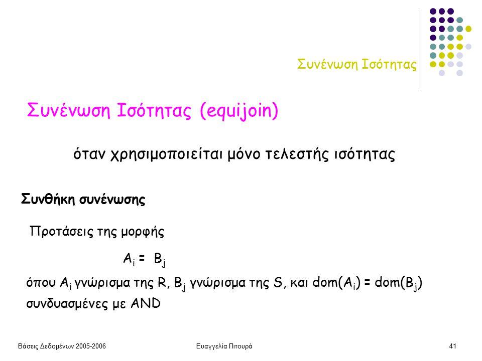 Βάσεις Δεδομένων 2005-2006Ευαγγελία Πιτουρά41 Συνένωση Ισότητας Συνένωση Ισότητας (equijoin) Συνθήκη συνένωσης A i = B j όπου A i γνώρισμα της R, B j γνώρισμα της S, και dom(A i ) = dom(B j ) Προτάσεις της μορφής συνδυασμένες με AND όταν χρησιμοποιείται μόνο τελεστής ισότητας