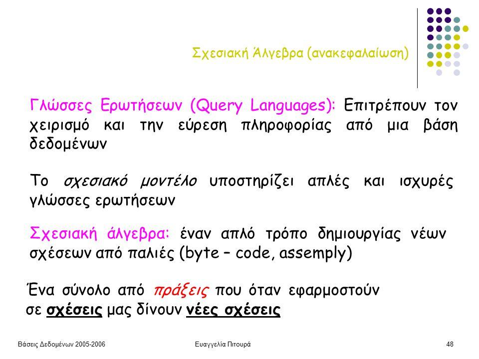 Βάσεις Δεδομένων 2005-2006Ευαγγελία Πιτουρά48 Σχεσιακή Άλγεβρα (ανακεφαλαίωση) Το σχεσιακό μοντέλο υποστηρίζει απλές και ισχυρές γλώσσες ερωτήσεων Γλώσσες Ερωτήσεων (Query Languages): Επιτρέπουν τον χειρισμό και την εύρεση πληροφορίας από μια βάση δεδομένων Σχεσιακή άλγεβρα: έναν απλό τρόπο δημιουργίας νέων σχέσεων από παλιές (byte – code, assemply) Ένα σύνολο από πράξεις που όταν εφαρμοστούν σε σχέσεις μας δίνουν νέες σχέσεις
