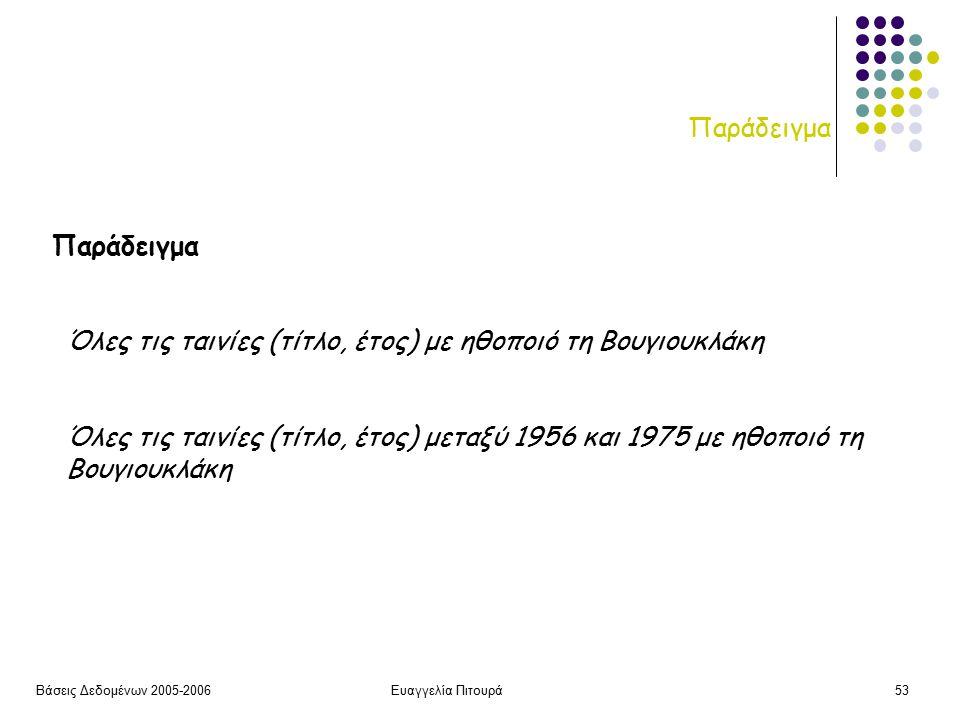 Βάσεις Δεδομένων 2005-2006Ευαγγελία Πιτουρά53 Παράδειγμα Όλες τις ταινίες (τίτλο, έτος) με ηθοποιό τη Βουγιουκλάκη Όλες τις ταινίες (τίτλο, έτος) μεταξύ 1956 και 1975 με ηθοποιό τη Βουγιουκλάκη Παράδειγμα