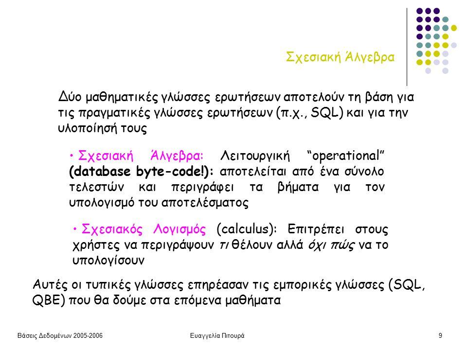 Βάσεις Δεδομένων 2005-2006Ευαγγελία Πιτουρά9 Σχεσιακή Άλγεβρα Σχεσιακή Άλγεβρα: Λειτουργική operational (database byte-code!): αποτελείται από ένα σύνολο τελεστών και περιγράφει τα βήματα για τον υπολογισμό του αποτελέσματος Σχεσιακός Λογισμός (calculus): Επιτρέπει στους χρήστες να περιγράψουν τι θέλουν αλλά όχι πώς να το υπολογίσουν Δύο μαθηματικές γλώσσες ερωτήσεων αποτελούν τη βάση για τις πραγματικές γλώσσες ερωτήσεων (π.χ., SQL) και για την υλοποίησή τους Αυτές οι τυπικές γλώσσες επηρέασαν τις εμπορικές γλώσσες (SQL, QBE) που θα δούμε στα επόμενα μαθήματα