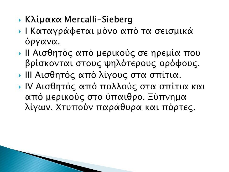  Kλίμακα Mercalli-Sieberg  I Καταγράφεται μόνο από τα σεισμικά όργανα.