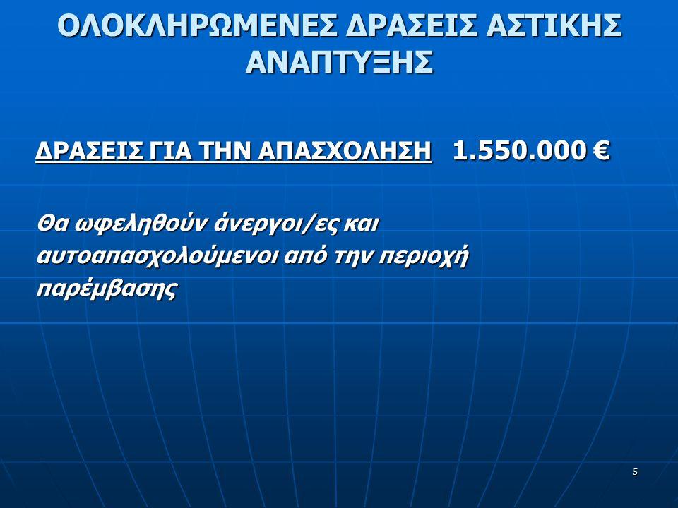 5 ΔΡΑΣΕΙΣ ΓΙΑ ΤΗΝ ΑΠΑΣΧΟΛΗΣΗ 1.550.000 € Θα ωφεληθούν άνεργοι/ες και αυτοαπασχολούμενοι από την περιοχή παρέμβασης