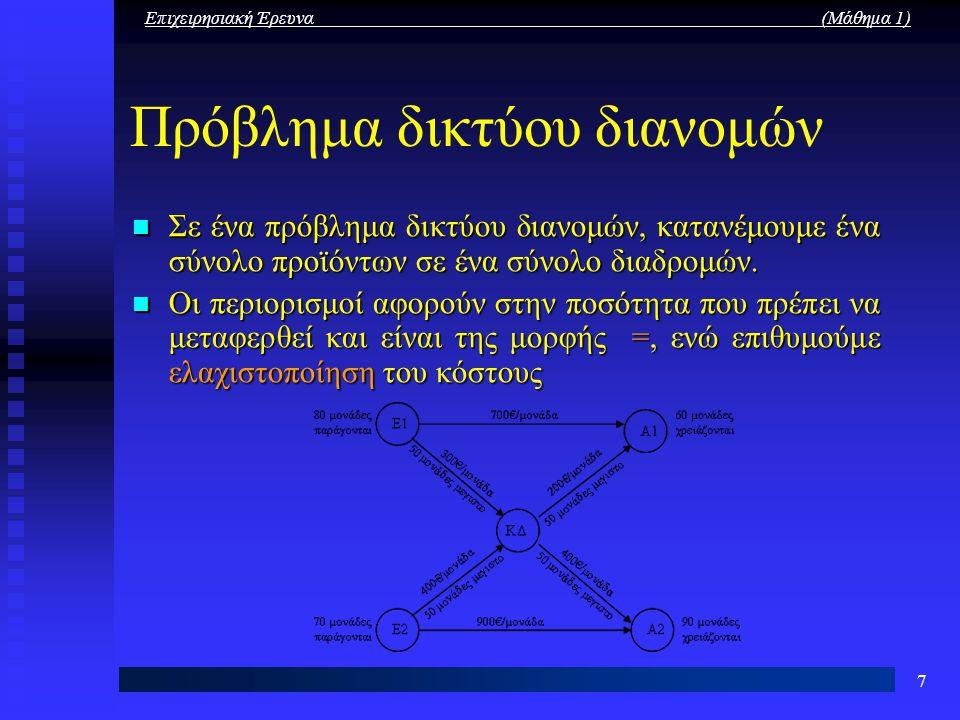 Επιχειρησιακή Έρευνα (Μάθημα 1) 7 Πρόβλημα δικτύου διανομών Σε ένα πρόβλημα δικτύου διανομών, κατανέμουμε ένα σύνολο προϊόντων σε ένα σύνολο διαδρομών
