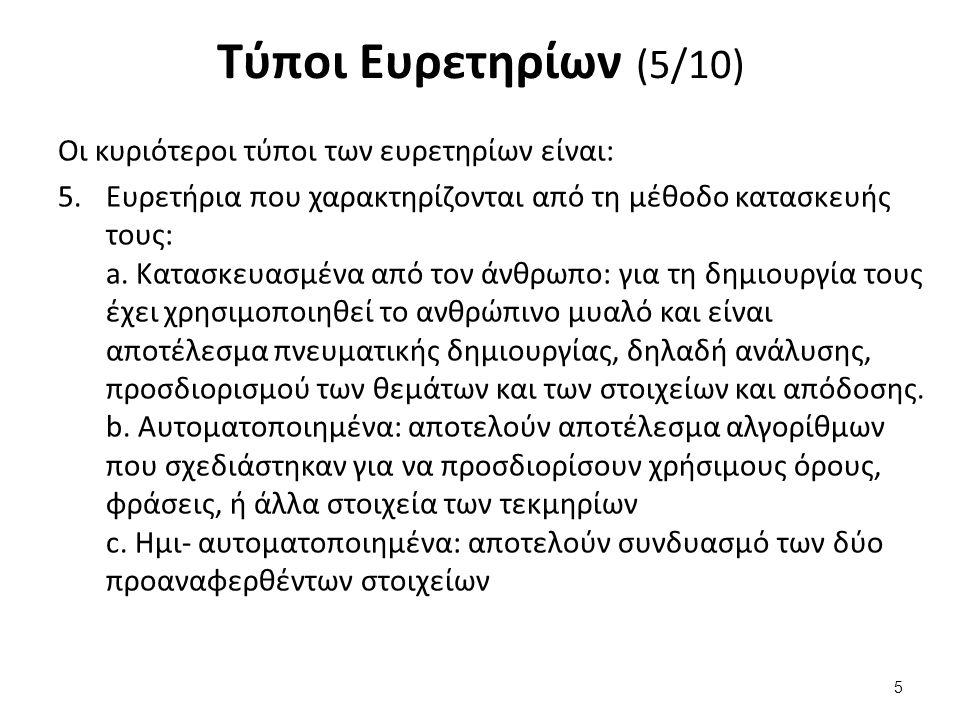 Τύποι Ευρετηρίων (5/10) Οι κυριότεροι τύποι των ευρετηρίων είναι: 5.Ευρετήρια που χαρακτηρίζονται από τη μέθοδο κατασκευής τους: a.