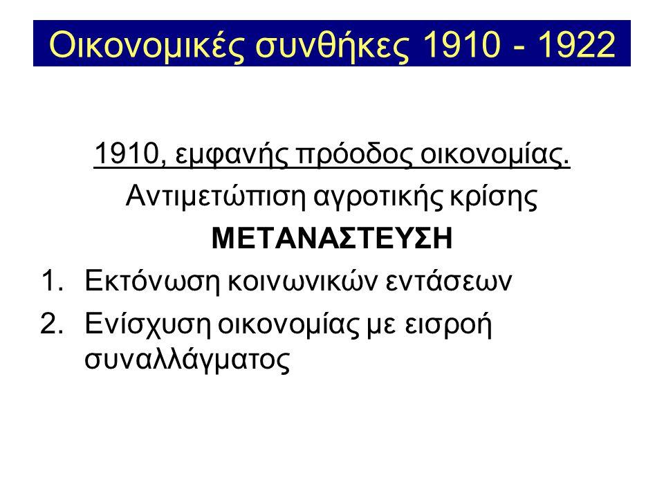 Οικονομικές συνθήκες 1910 - 1922 1910, εμφανής πρόοδος οικονομίας.