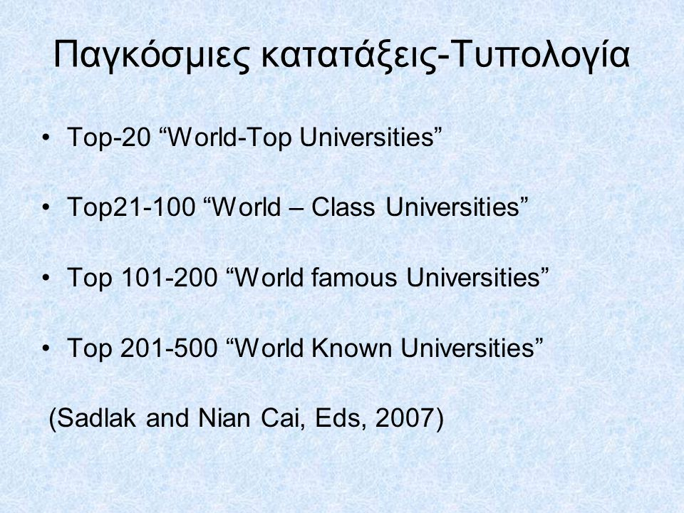 Παγκόσμιες κατατάξεις-Τυπολογία Top-20 World-Top Universities Top21-100 World – Class Universities Top 101-200 World famous Universities Top 201-500 World Known Universities (Sadlak and Nian Cai, Eds, 2007)