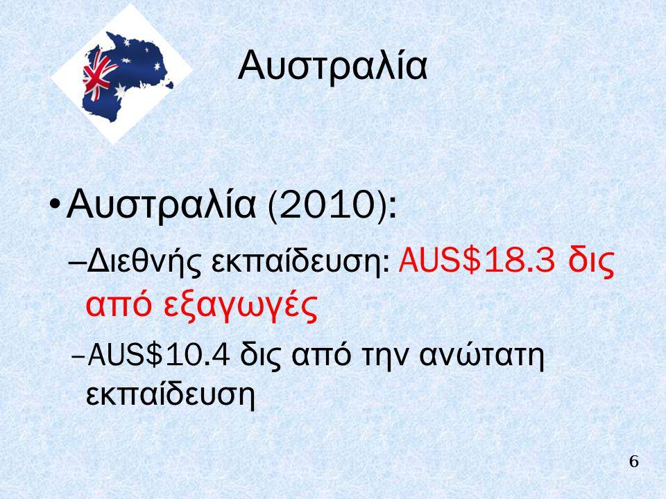 Αυστραλία Αυστραλία (2010): –Διεθνής εκπαίδευση : AUS$18.3 δις από εξαγωγές –AUS$10.4 δις από την ανώτατη εκπαίδευση 6