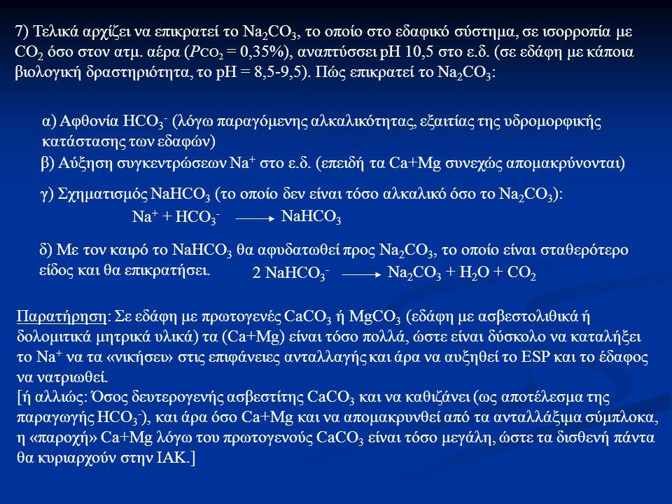 7) Τελικά αρχίζει να επικρατεί το Na 2 CO 3, το οποίο στο εδαφικό σύστημα, σε ισορροπία με CO 2 όσο στον ατμ.