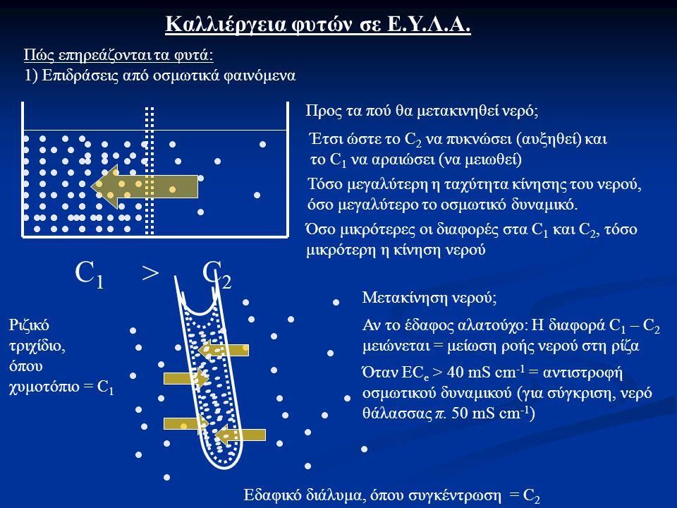 Όταν EC e > 40 mS cm -1 = αντιστροφή οσμωτικού δυναμικού (για σύγκριση, νερό θάλασσας π.