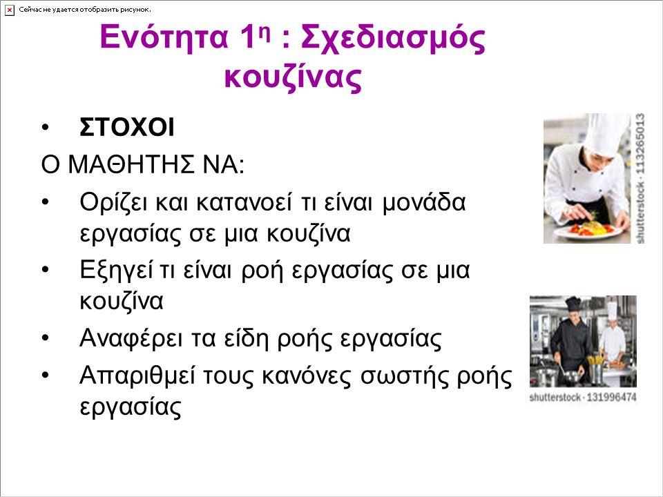 Ενότητα 1 η : Σχεδιασμός κουζίνας ΣΤΟΧΟΙ Ο ΜΑΘΗΤΗΣ ΝΑ: Ορίζει και κατανοεί τι είναι μονάδα εργασίας σε μια κουζίνα Εξηγεί τι είναι ροή εργασίας σε μια